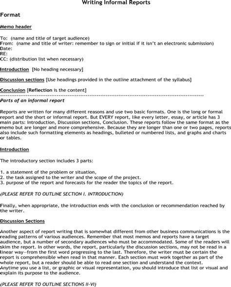 informal reports format   formtemplate