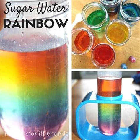 rainbow in a jar water density experiment bins 741 | Sugar water density science and rainbow science activity