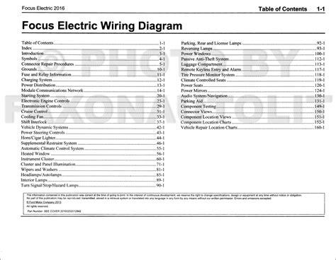 Ford Focus Electric Wiring Diagram Manual Original
