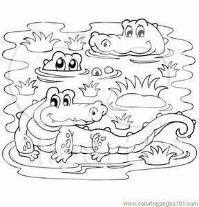 Crocodiles In A Swamp coloring page - Free Printable ...