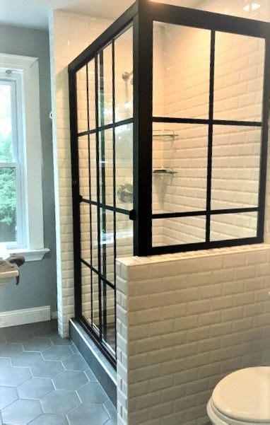matte black grid design gridworks  sliding shower door