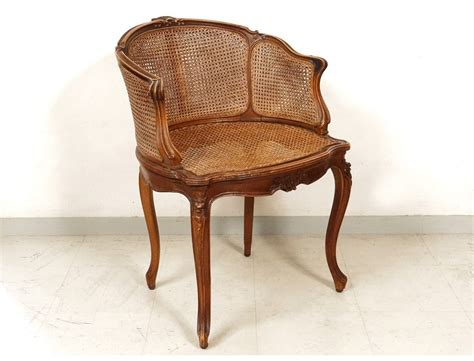 canne chaise office chair caned louis xv carved walnut shells flowers