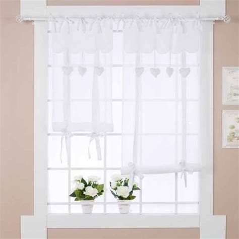 store et rideaux rideau store shabby chic cœur 60 x 180 cm blanc mariclo brises bise stores rideaux