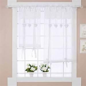 Stores Et Rideaux Com : rideau store shabby chic c ur 60 x 180 cm blanc mariclo ~ Dailycaller-alerts.com Idées de Décoration