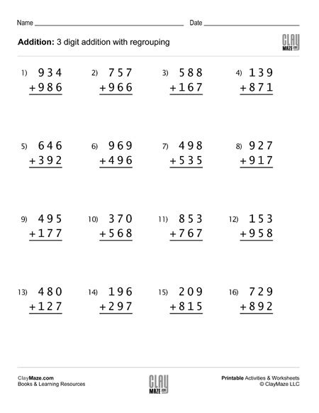 3 digit addition worksheet with regrouping 1