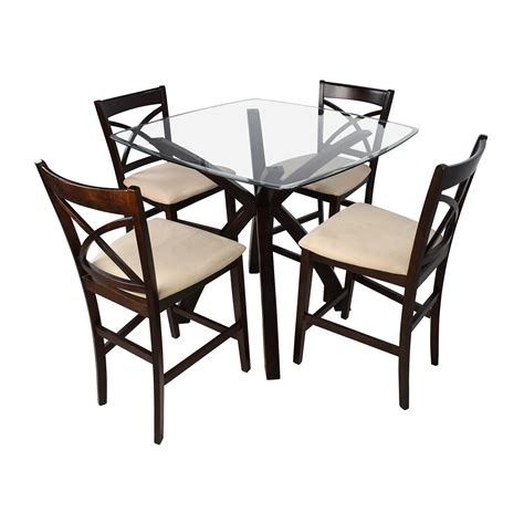 glass table with 4 chairs 53 off counter height glass and wood table with four