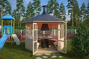 Grill Pavillon Holz : grillpavillon paradise 6 m 42mm 3x3 hansagarten24 ~ Whattoseeinmadrid.com Haus und Dekorationen