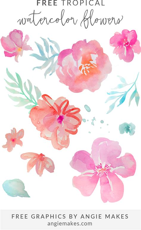 free watercolor clipart free tropical watercolor flower clip by angie makes