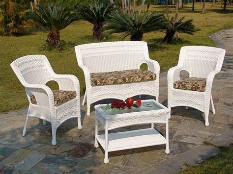 White Resin Wicker Patio Furniture Ideas  Outdoor Decorations