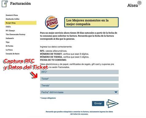 burger king facturacion facturar ticket descargar xml
