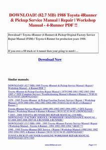 82 7 Mb 1988 Toyota 4runner Pickup Service Manual Repair
