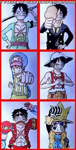 Found this picture of Luffy as Zoro, Sanji, Usopp, Chopper ...