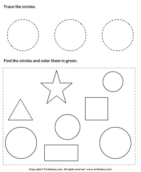 trace circles  color  worksheet turtle diary