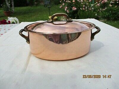 french cookware chef kitchen oval copper stew pot pan cocotte casserole lidded ebay