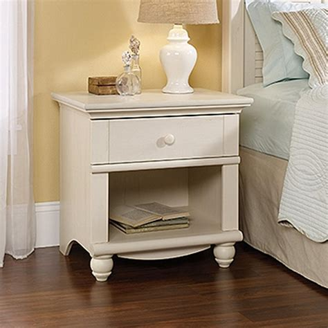 harbor view  drawer antiqued white nightstand