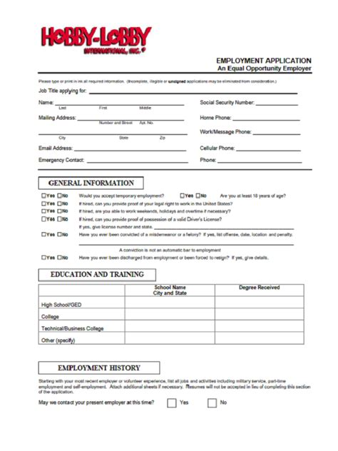 hobby lobby job application form  job application form