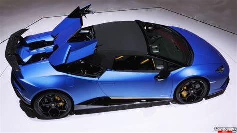 5 Blue Lamborghini Huracan Performante Spyder At Geneva