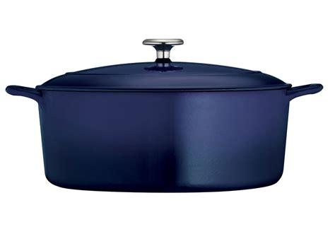 tramontina enameled cast iron oval dutch oven  quart cobalt blue cutlery