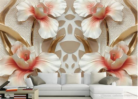 high quality customize size modern  flower relief tv