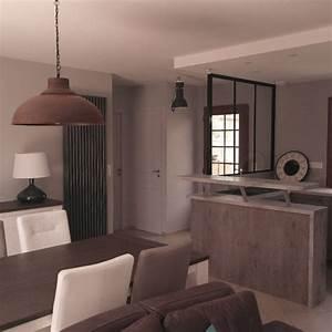 Sejour Style Industriel : salon salle manger cuisine style industriel ~ Teatrodelosmanantiales.com Idées de Décoration
