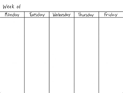 blank weekly calendars printable calendar template