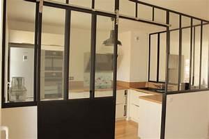 verriere de cuisine avec porte coulissante With porte d entrée alu avec luminaire salle de bain industriel