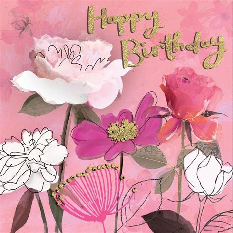 pretty pink floral birthday card featuring gorgeous