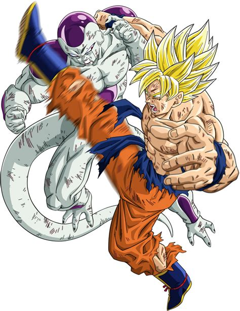 dbkai super saiyan goku vs frieza render by xsaiyan on deviantart