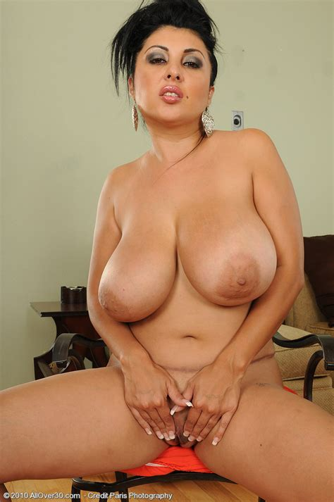 Brunette Milf With Massive Juggs Strips And Spreads Her