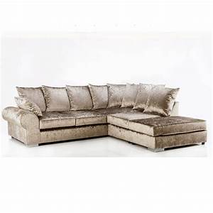regent crushed velvet 4 seater sofa mink right hand With crushed velvet sectional sofa