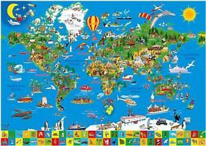 Weltkarte Poster Kinder : kinderweltkarte deine bunte erde mit glitzer ~ Yasmunasinghe.com Haus und Dekorationen