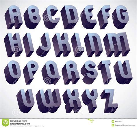 bold  big font monochrome dimensional alphabet   stock vector illustration