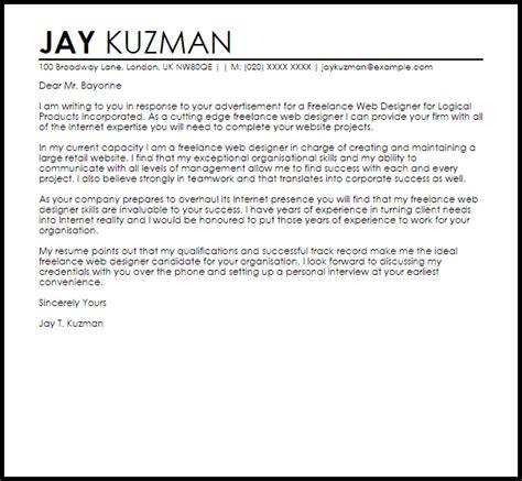 freelance web designer cover letter sample cover letter templates examples