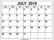 July 2019 Calendar Printable One Page Template Free