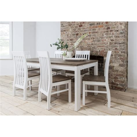 hever dining table with 6 chairs in white and pine