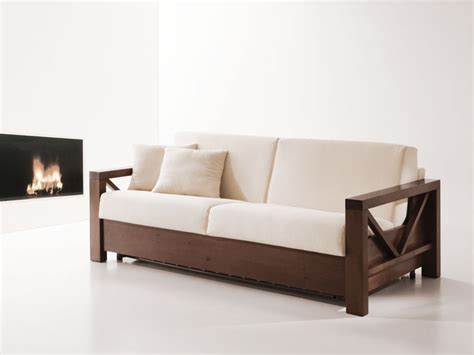 Letto Divano In Legno : Wooden Sofa Bed, Convertible, For Living Room