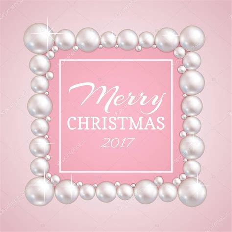 Christmas pearl frame Vector fashion pearls border for