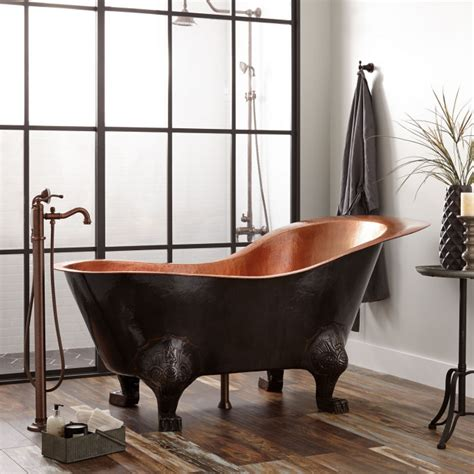 copper claw foot tub 72 quot mcquire hammered copper slipper clawfoot tub with