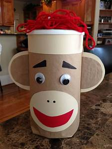 Sock Monkey Valentine Box/Up cycled oat meal canister ...