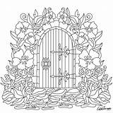 Garden Coloring Gate Pages Door Drawing Colouring Flowers Adult Adults Books Embroidery Cute Sheets Therapy Mandala Flower Drawings Printable Clip sketch template