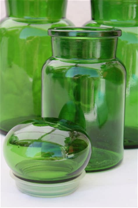 green glass canisters kitchen mod vintage green glass kitchen canisters airtight seal 3985