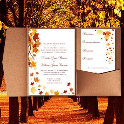 pocket fold wedding invitations falling leaves fall