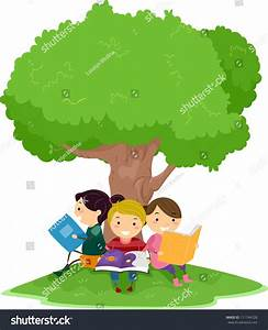 Reading Under A Tree Clipart - ClipartXtras