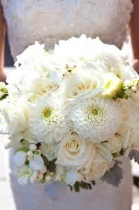 White Dahlia and Rose Bridal Bouquet