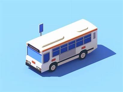 Bus Dribbble Animation 3d Isometric Weekly Illustration