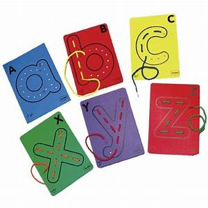 letter cards for threading from early years resources uk With letter lacing cards