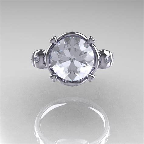 modern vintage  white gold  carat white sapphire