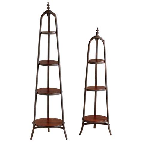 Round Wooden Shelves Iron Etagere Set Natural Metal