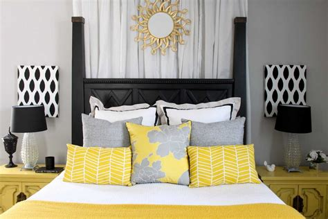 Gray Yellow And Black Living Room White Valances