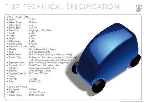 Electric Motor Specs by T 27 Electric City Car Specs